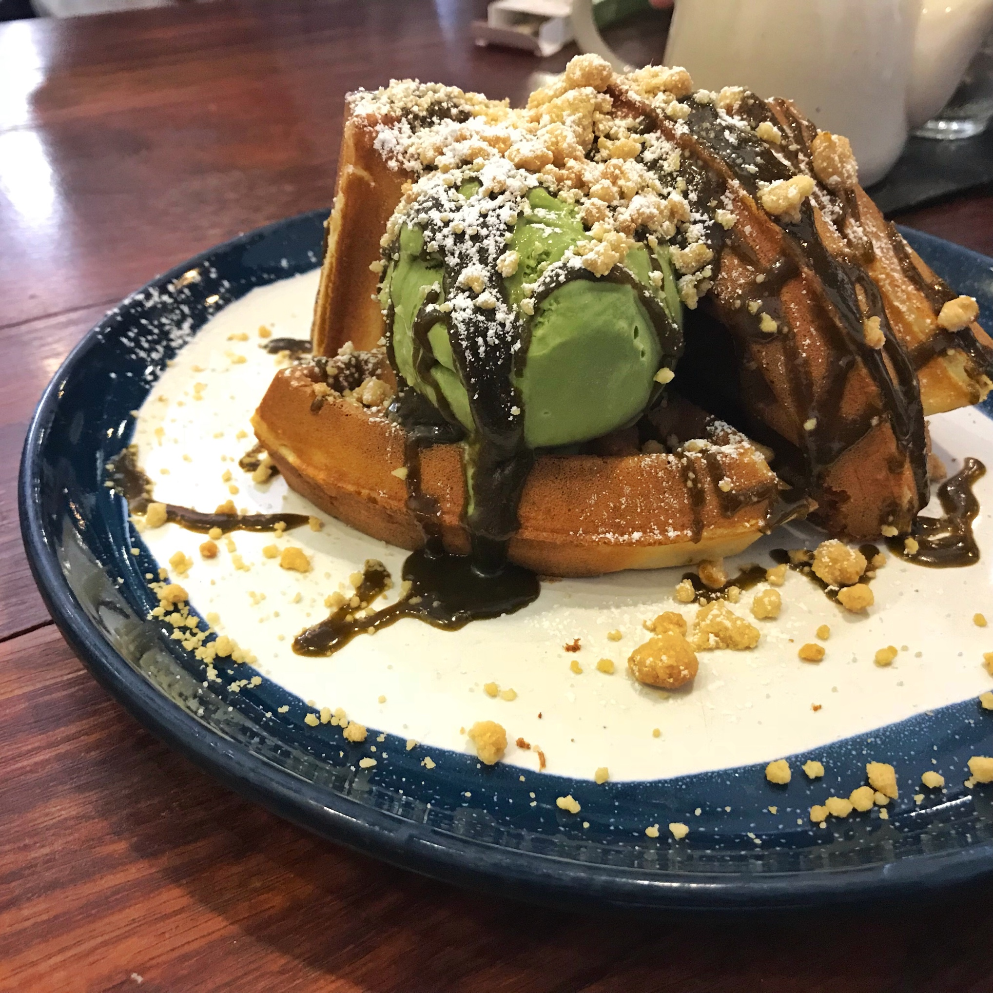 Waffles with matcha ice cream