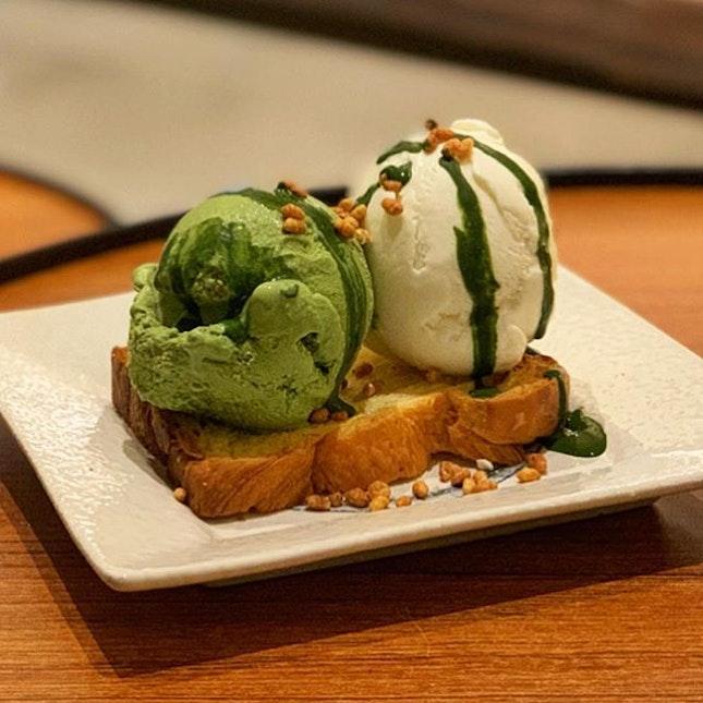 Toast with Matcha and Hokkaido Milk Ice Cream