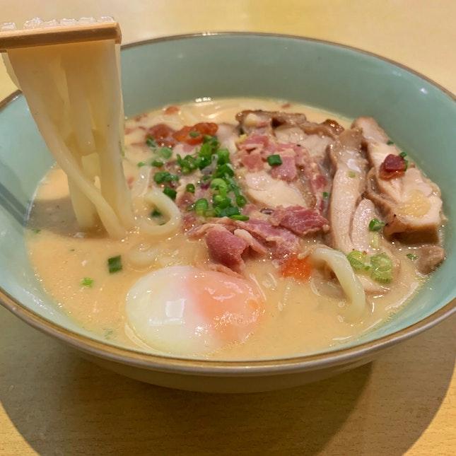 Mentai Carbonara Chicken Udon ($10.80)