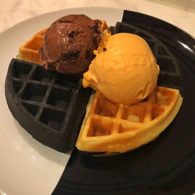 Yuanyang Waffle with chocolate fudge and Thai tea ice cream