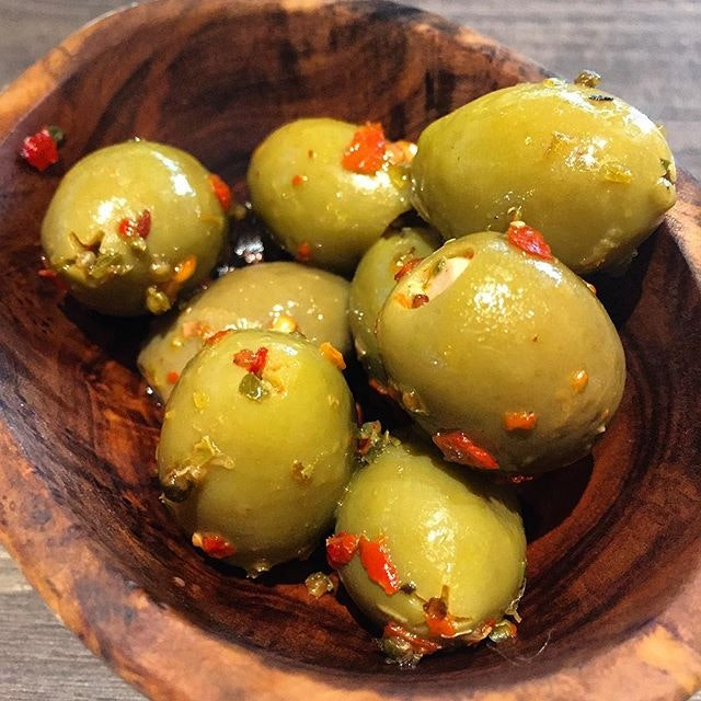 Plump, juicy olives, stuffed with either garlic or almonds.