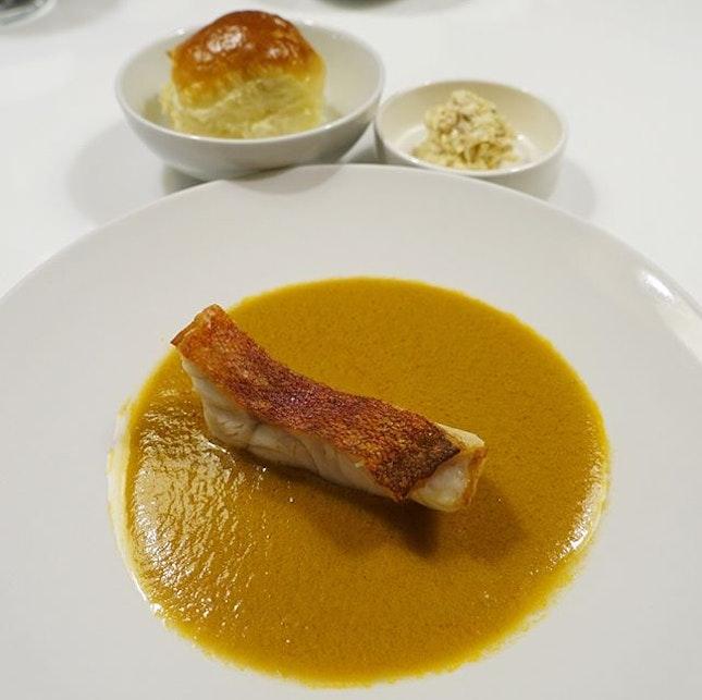 Wild grouper with chilli crab sauce.