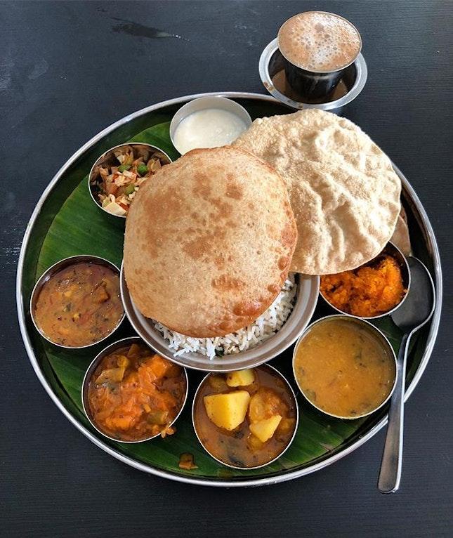 Rangoli Thali and bro coffee for lunch.