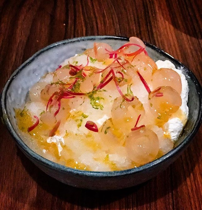 Elderflower granita, Bunga Kantan cream and longan.