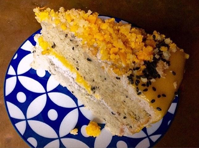 Salted Egg Black Sesame Cake