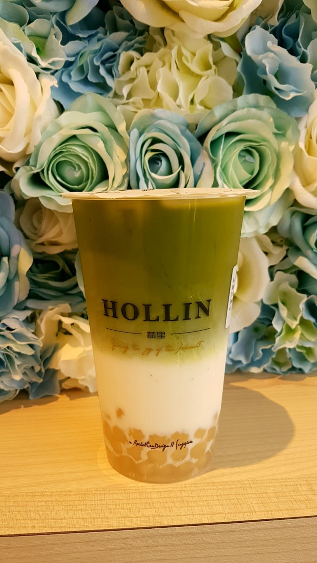 Matcha Latte With Honey Pearl