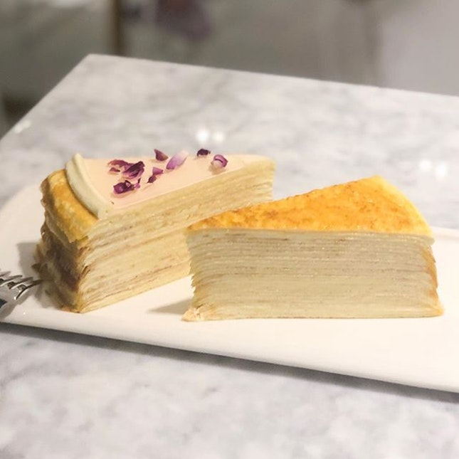 @ Lady M The only cakes I eat are crepe cakes 🙃 And I eat them layer by layer, rolling them up hehe 🙂 Please don't try eating the flower petals HAHA - 🍽 FUD FOR THE TUMMY • Signature Mille Crepes ($9.50) • Rose Mille Crepes ($9.50)