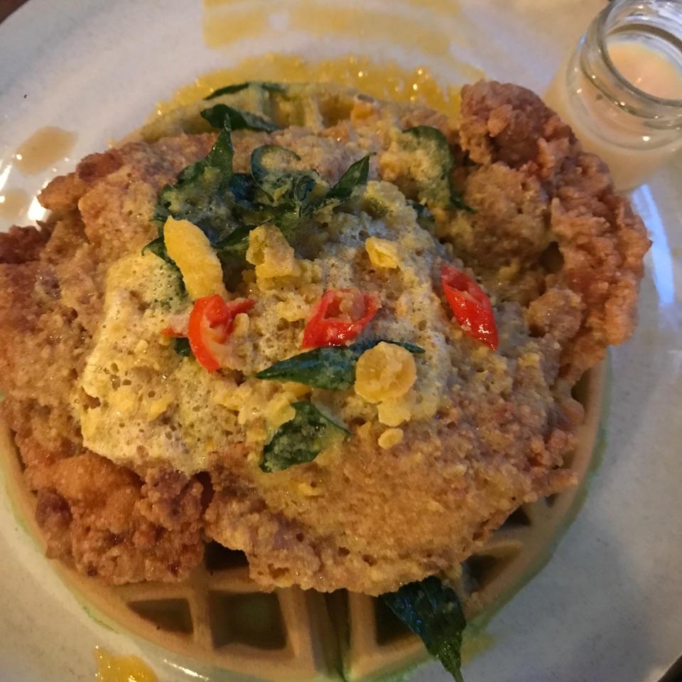 Salted Egg Yolk Chicken & Pandan Waffles