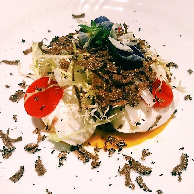 Burrata with porcini mushrooms and truffle.