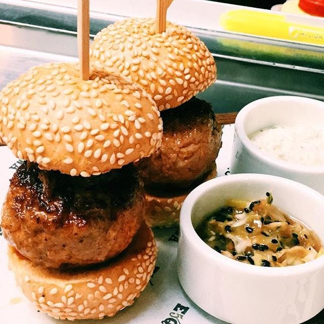 Iberico pork and foie gras burgers.
