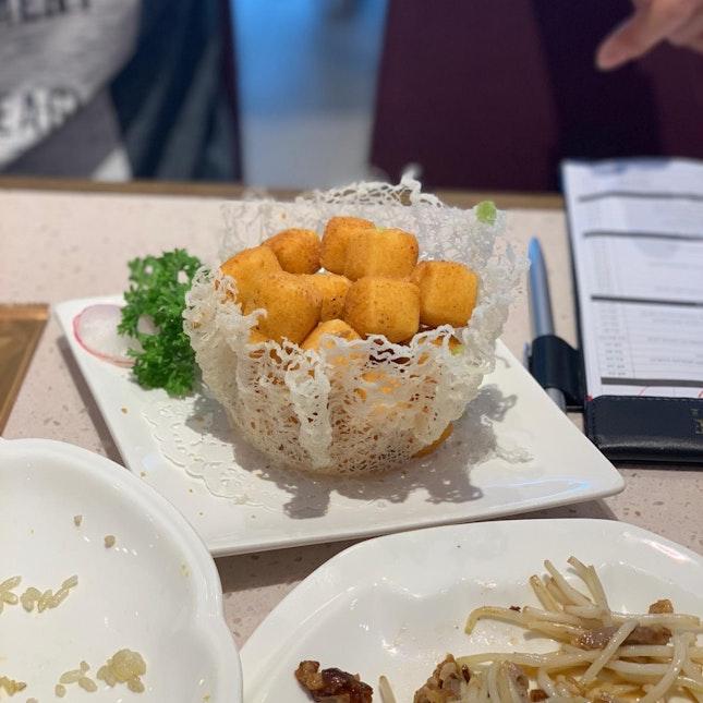 Crisp-fried tofu with salt and pepper ($7.80++)