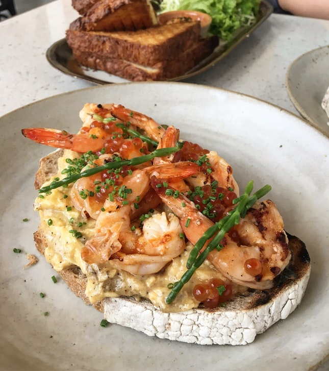 Grilled Prawns, Truffled Eggs And Ikura On Toast