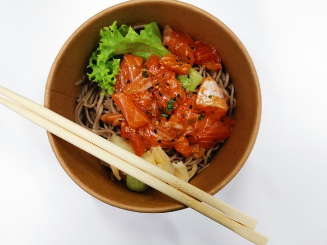 Salmon Sashimi With Soba
