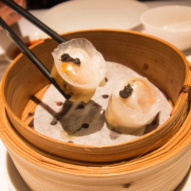 Steamed Shrimp Dumplings W/ Truffle and Cordyceps ($6/2 Pieces)