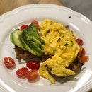 Potato Waffles W/ Avocado Slices And Egg ($15)