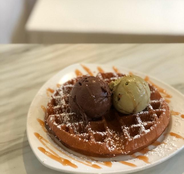 Roasted Pistachio & Stout Chocolate W/ Waffles ($11.80)