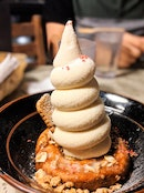 Cookie Butter Soft Serve With Mochi Doughnut
