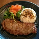Sirloin Steak with Salmon Salad ($16.40)