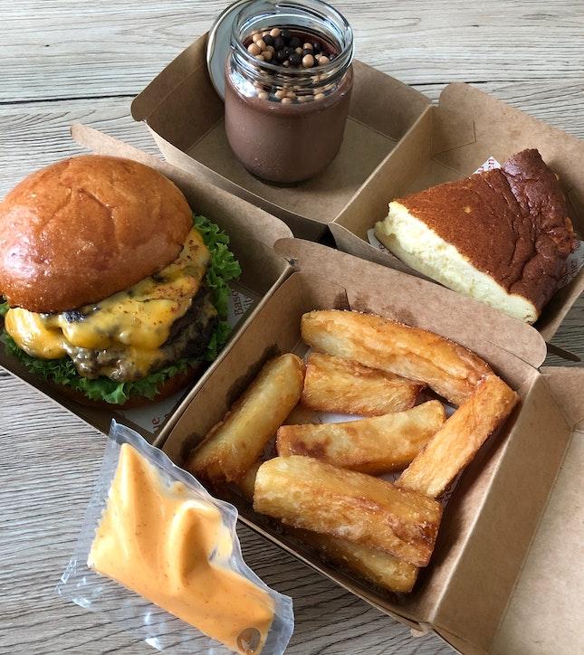Waygu Burger with fries ($38)