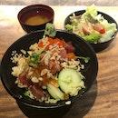 Sashimi Rice Bowl $19++, Century Egg Beancurd $6++