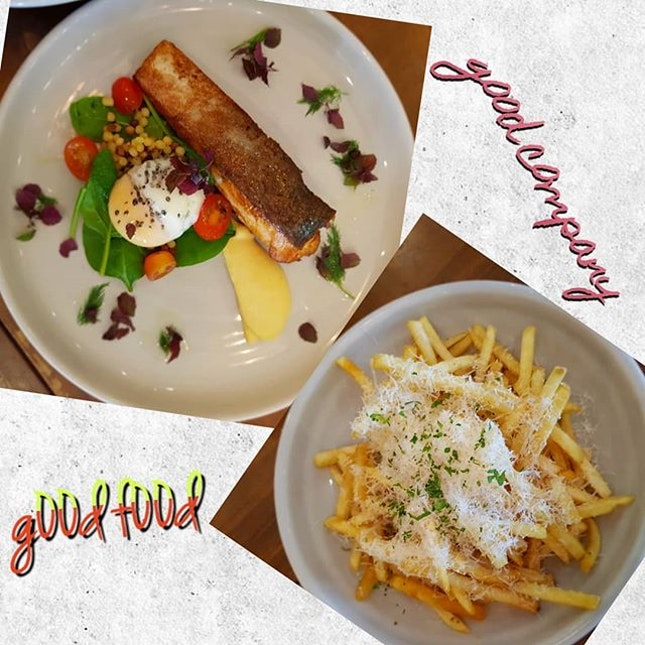 Pan Seared Salm0n (i think) & Truffle Fries