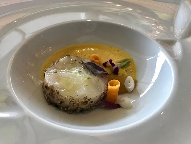 Lunch / 12 Oct 2018: Line caught Halibut with Pumpkin.
