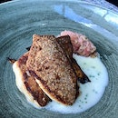 Grilled snapper with roasted Squash, beet and sake butter