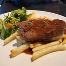 Sirloin steak and fries, at great value and surprisingly got medium rare right