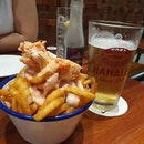 Lobster mentaiko fries with craft beer.
