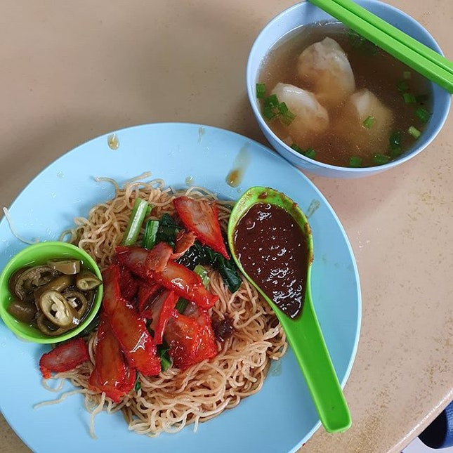 Its hard to resist wanton mee breakfast, esp when theres a spoonful of handmade chili to go with it.