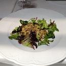 Gratinated Beef Tenderloin Carpaccio, Cappers-cumin-parmigiano, Green Leaf Salad