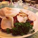 best dish of the night - juicy tender roast chicken with chili peanut sauce #dinner