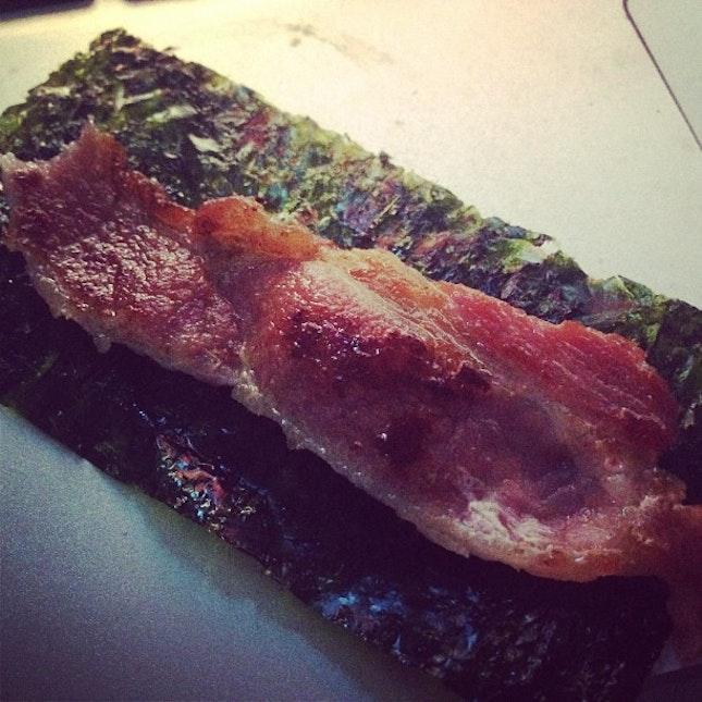 Dinner• bacon with nori #foodporn #burpple #foodstagram