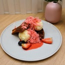 [Two Hana] - Strawberry Waffles with Honey Citron Ice Cream ($9).
