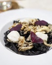 [Open Farm Community] - Black Bean Strozzapreti ($27) which features pasta made with fermented black beans which lends a unqiue sweet fermented flavour and colour.
