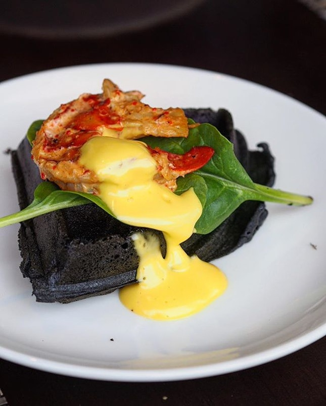 [Edge] - New western signature highlights at the Sunday Champagne Brunch featuring the Charcoal Waffles station - served with Sambal Boston Lobster, spinach leaf and hollandaise sauce.