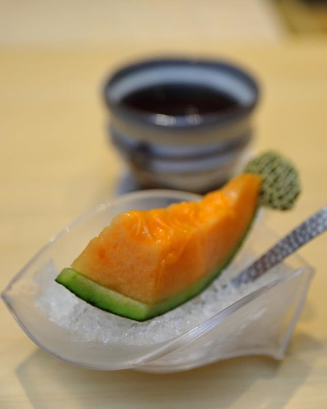 [Sushi Chiharu] - Love the sweet and juicy Japanese Melon that wrap up our omakase dinner.