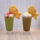 [Two Hana] - Iced Matcha Latte and Hojicha Latte.