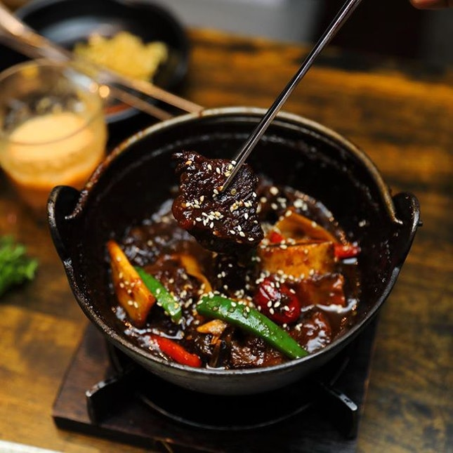 [Masizzim] - Slow cooked to fork tender in Masizzim's secret stew sauce is the King's Ribs ($16.90).
