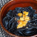 [Edge] - Squid Ink Pasta with Uni complemented with fresh uni has a slight spice to it to add on a different taste dimension.