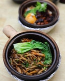 [House of Happiness] - The thoughtful eatery even offers a vegetarian claypot rice in the Assorted Mushrooms with Baby Bok Choy ($7).