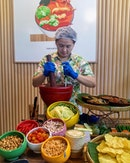 [Baan Ying] - One of the highlights is the DIY Thai Salad station where I get to mix and match own ingredients such as peanuts, dried shrimp, cherry tomatoes, long beans and either, tangy green papaya (Som Tum) or green mango (Yum Mamuang) and toss them in Aunty Ying's secret salad dressing.