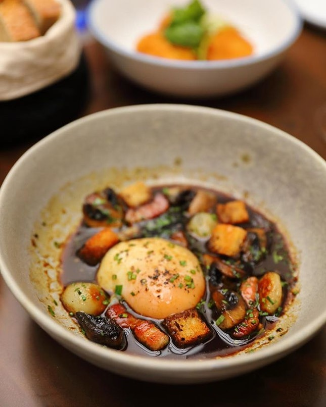 [Gaston Burgundy Bistro & Wine Bar] - The Oeufs en Meurette ($13/$21) is like our local soft boiled egg breakfast in dark sauce.