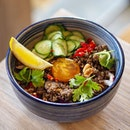 [Kara Cafe & Dessert Bar] - Taking inspiration from cuisines of Northern Thailand, the Beef Larb Rice Bowl ($18) features a bowl of minced beef cooked in a spicy lime and fish sauce marinate, and crowned with a luscious cured egg yolk.