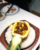 [The Dragon Chamber] - The Flaming Pineapple Beef ($28) will make a spectacular entry, served in flame.