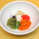 [Udon Kamon] - The Mentai Maze Udon ($12.80++) features the tricoloured chilled udon.