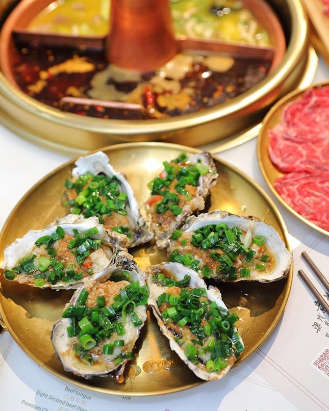 [Tong Xin Ru Yi Traditional Hotpot] - The BBQ Canadian Oyster with Garlic ($32 for 6pc) is delivered daily to the restaurant.