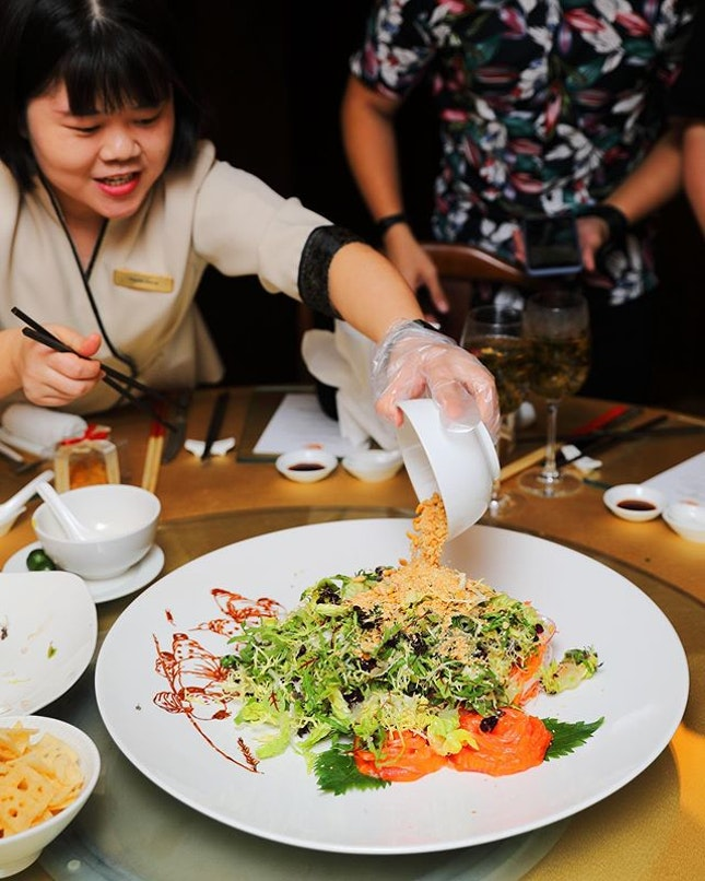 [Min Jiang] - Available for both dine-in and takeaway at Min Jiang Goodwood Park Hotel is the Joyful Abundance Yusheng ($168++ dine-in/ $179.75 takeaway).