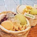 Coconut with green tea and milk tea ice cream!