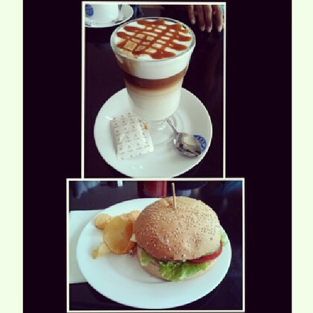 Breakfast and lunch sorted at Cup Café with a caramel macchiato and burger :) #burpple
